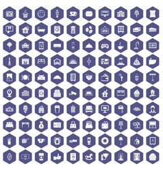 100 hotel icons hexagon purple vector