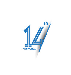 14 anniversary blue cut style isolated on white vector