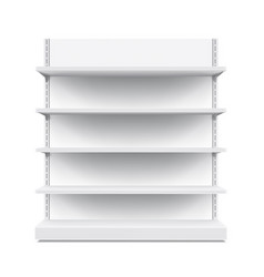 3d empty showcase display with retail shelves vector