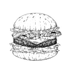 a piece of yummy hamburger vintage look hand draw vector image