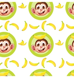 A seamless design with monkeys and bananas vector