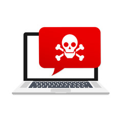 Alert notification on laptop computer malware vector