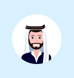 Arab businessman face happy portrait on blue vector