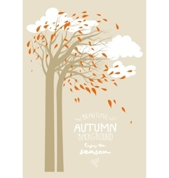 Autumn trees and clouds vector