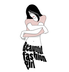 Beautiful fashion girl taking off t shirt vector