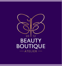 Beauty boutique logo double b like a butterfly vector