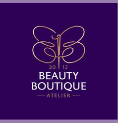 Beauty boutique logo double b like a butterfly vector