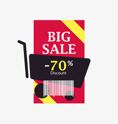 big sale 70 percent discount barcode and shopping vector image