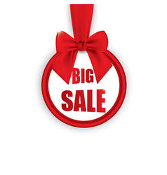 big sale round banner with red ribbon and bow vector image