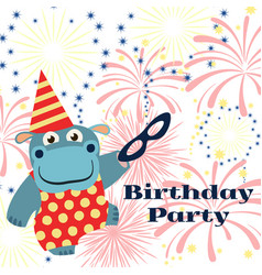Birthday party background with cartoon hippo vector