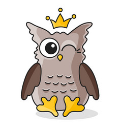 brown owl with crown isolated on white vector image