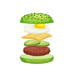 Burger with flying ingredients green buns cutlet vector