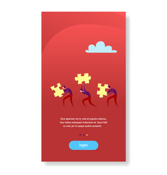 Business people carry puzzle parts teamwork vector