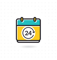 calendar icon with 24 hours symbol vector image