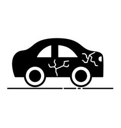 Car crash in the road for accident disaster vector