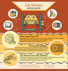 Car repair infographics cat service and tire vector