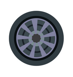 car wheel and tire rubber steel vehicle icon vector image