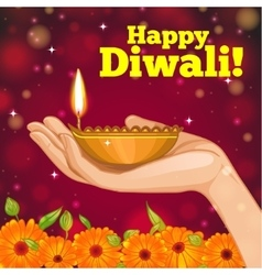 Card for diwali with diya decoration in hand vector