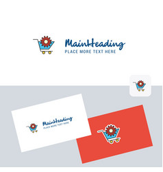 cart setting logotype with business card template vector image