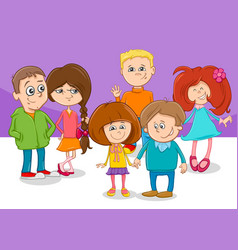 cartoon children friends characters group vector image