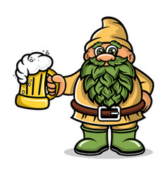 cartoon dwarf mascot with a mug beer logo vector image