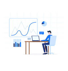 cartoon man working with laptop vector image