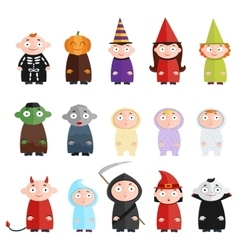 Children with costumes witch mummy ghost death vector