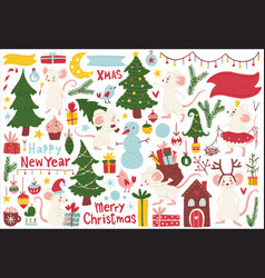 christmas mice elements set hand drawn style vector image