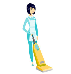 cleaner cleaning floor with a vacuum cleaner vector image