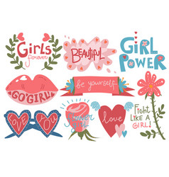 Collection of girlish pretty design elements with vector
