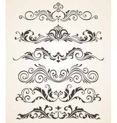 Collection of vintage style flourishes elements vector