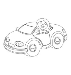 coloring book for children with a car vehicle vector image
