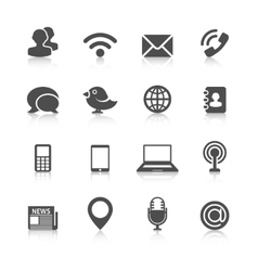 Communication Icons with Reflection vector