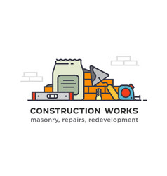 construction tools construction of walls vector image
