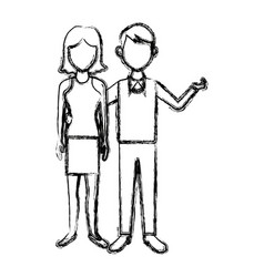Couple standing man and woman together people vector