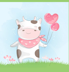 cute baby cow watercolor style vector image