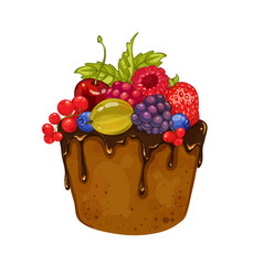 delicious cupcake with chocolate and berries vector image