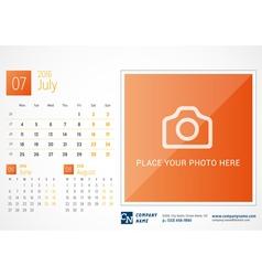 Desk Calendar 2016 Print Template July Week Starts vector