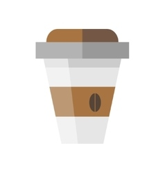 Disposable coffee cup icon in flat style vector image