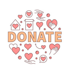 donate creative round vector image