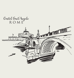drawing sketch castel santangelo in rome vector image