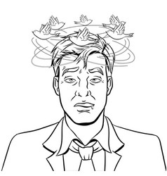 Drunk man with birds coloring book vector
