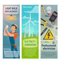 Electrician profession electricity banners vector