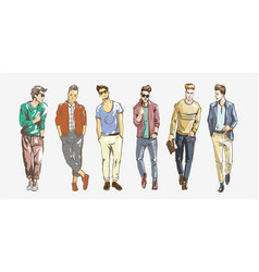fashion man collection of fashionable men s vector image