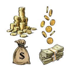 finance money set sketch stack coins vector image