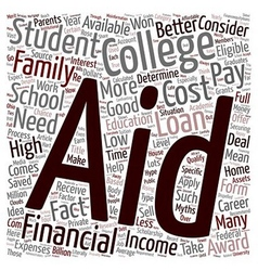Financial aid myths text background wordcloud vector