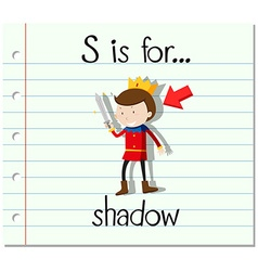 Flashcard letter S is for shadow vector