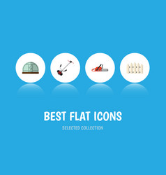 Flat icon dacha set of hothouse grass-cutter vector