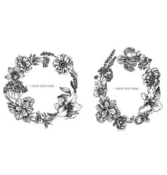 Floral wreath black and white anemone lavender vector