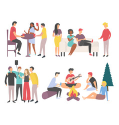 Friends gathering spending time together vector
